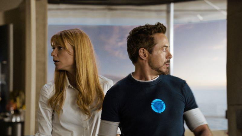 Pepper Potts e Tony Stark in una sequenza di Iron Man 3