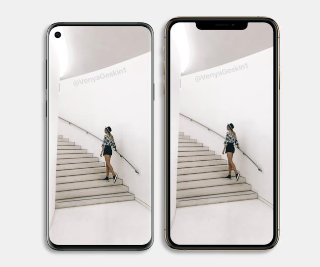 Il Galaxy S10+ immaginato da Ben Geskin di fianco ad iPhone XS Max