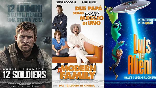 I poster dei film 12 Soldiers, A Modern Family, Luis e gli alieni