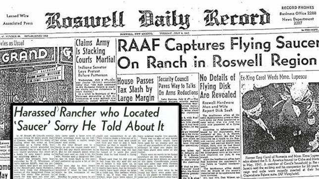 L'incidente di Roswell riportato sui giornali locali