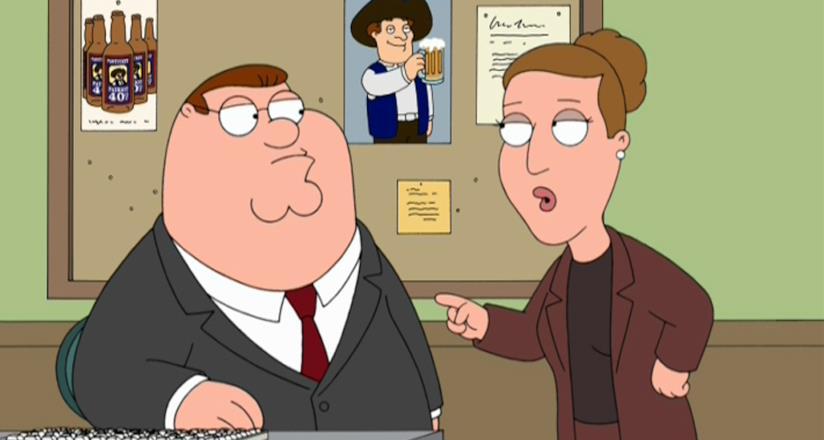 Peter e il suo boss, Angela, in una scena de I Griffin