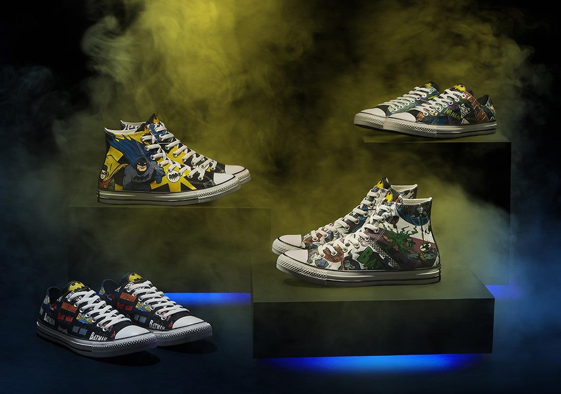 Quattro delle scarpe della collezione Converse x Batman