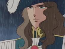 Il Conte di Girondelle sotto la pioggia nell'episodio 35 dell'anime di Lady Oscar