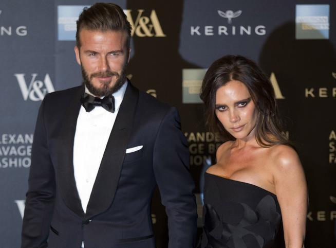 Primo piano di David Beckham e Victoria Beckham