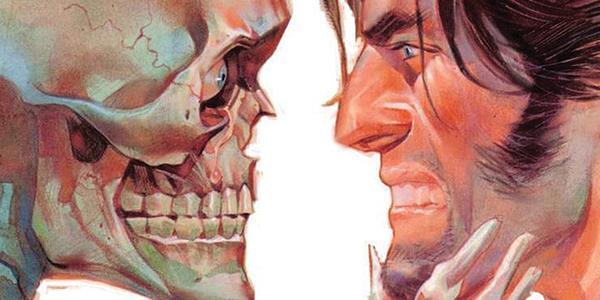 Illustrazione che vede faccia a faccia la Morte e John Doe