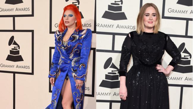 Lady Gaga e Adele ai Grammy Awards 2016 a Los Angeles