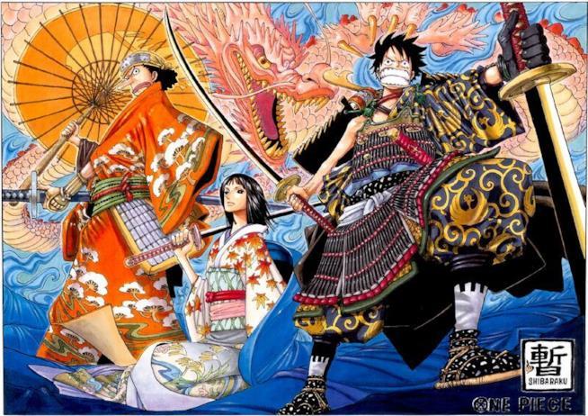 One Piece personaggi disegnati in stile giapponese feudale