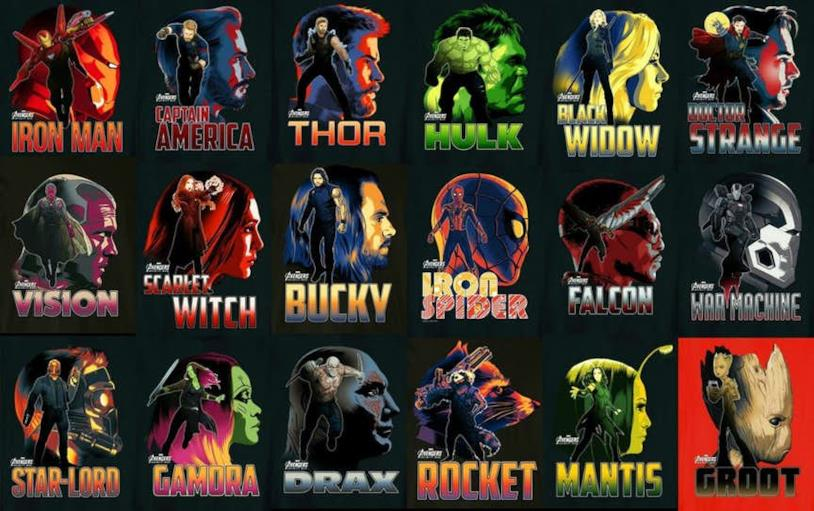 I character poster di Vendicatori e Guardiani della Galassia per Avengers 4