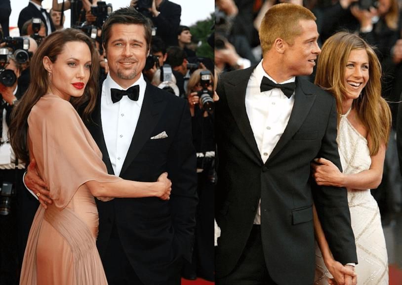 Brad Pitt con Angelina Jolie e Brad Pitt con Jennifer Aniston