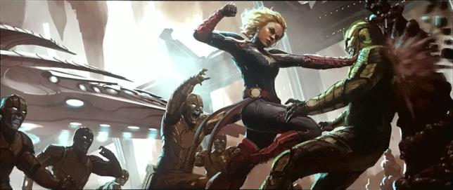 Carol Danvers in costume da Captain Marvel in una concept art del film