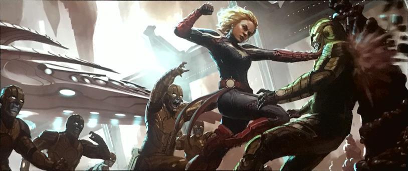 Carol Danvers in costume da Captain Marvel in una concept art del film