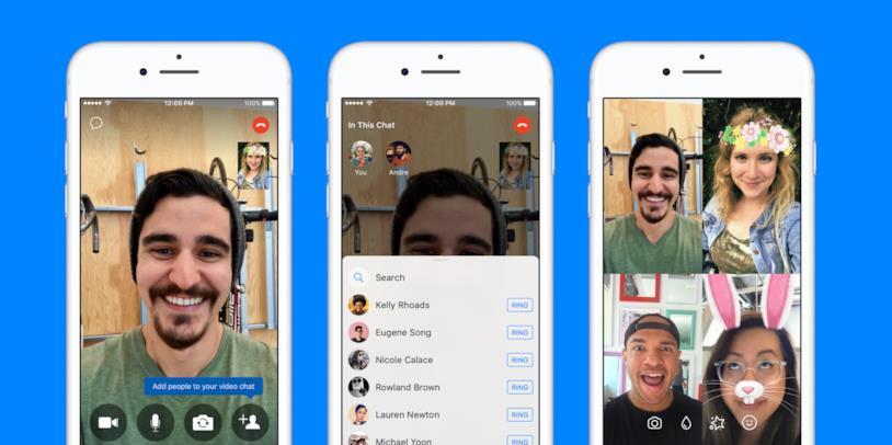 Esempio di videochiamata di gruppo su Facebook Messenger