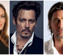 Primo piano di Angelina Jolie, Brad Pitt e Johnny Depp