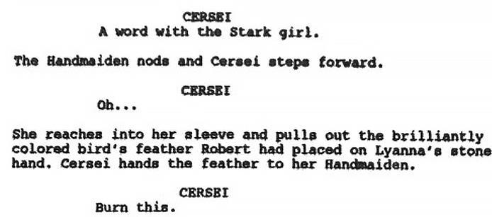 Lo script della Cushing Memorial Library: Cersei e la piuma di Lyanna