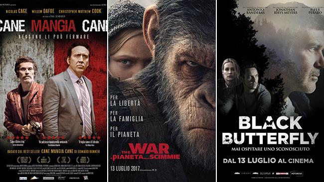 I poster dei film Cane Mangia Cane, The War - Il Pianeta delle Scimmie, Black Butterfly