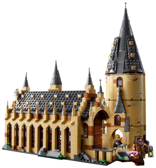 Primo piano del set di LEGO dedicato alla Sala Grande del castello di Hogwarts