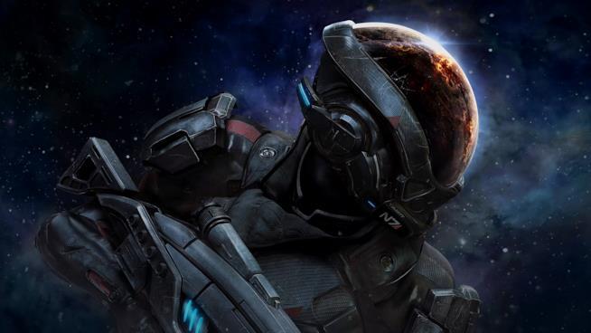 Un primo piano del protagonista di Mass Effect: Andromeda
