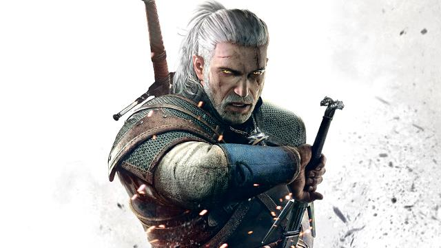 Un primo piano di Geralt di Rivia