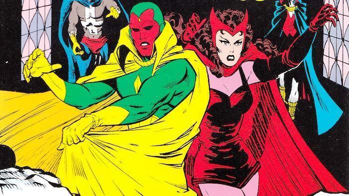 Visione e Scarlet Witch insieme, in una immagine dei fumetti. Entrambi indossano un mantello, il primo ha un costume verde e giallo, la seconda veste di rosso