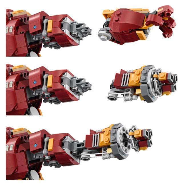 Dettagli delle braccia dell'armatura di Iron Man del set di LEGO Hulkbuster: Ultron Edition