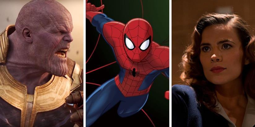 Da sinistra: Thanos, Spider-Man in versione animata e Agent Carter