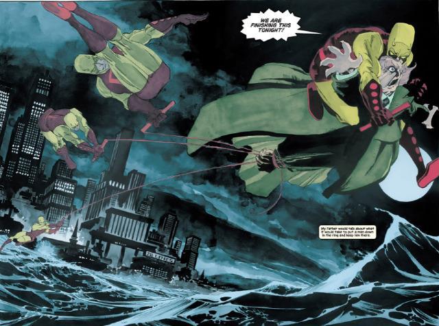 Daredevil e il Gufo in una tavola della miniserie