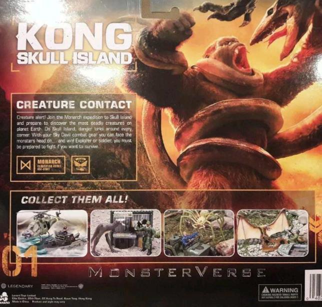 Il nome MonsterVerse inciso su una confezione di giocattoli di Kong: Skull Island