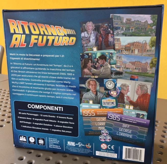 Ritorno al futuro: il retro della scatola del gioco