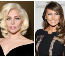 Primo piano di Lady Gaga e Melania Trump