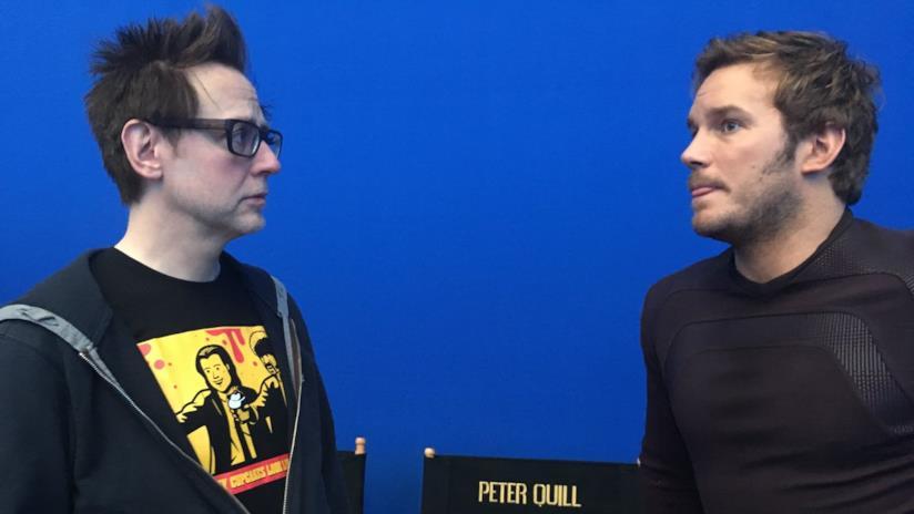 Il regista James Gunn e l'attore Chris Pratt
