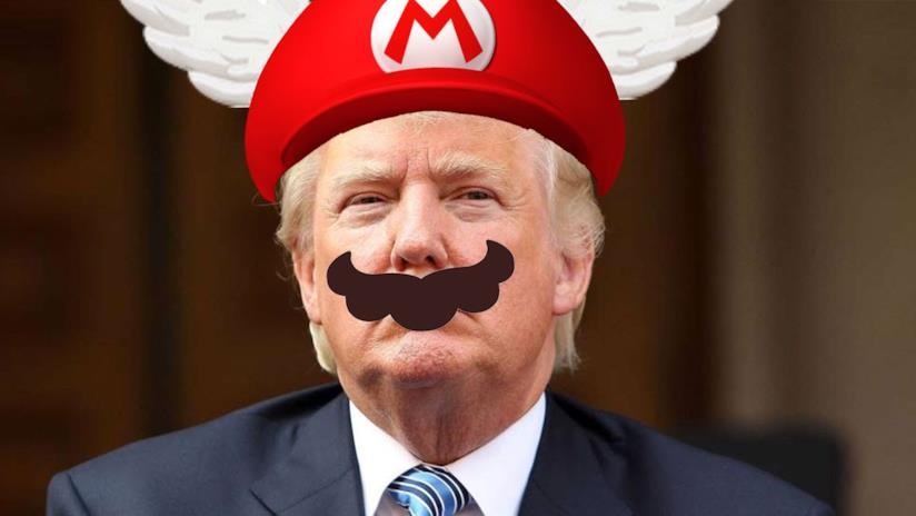 Il Presidente USA Donald Trump in versione Super Mario