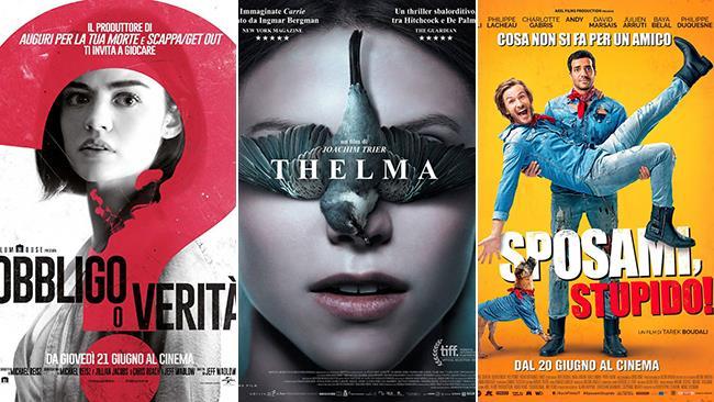 I poster dei film Obbligo o verità, Thelma e Sposami, stupido!