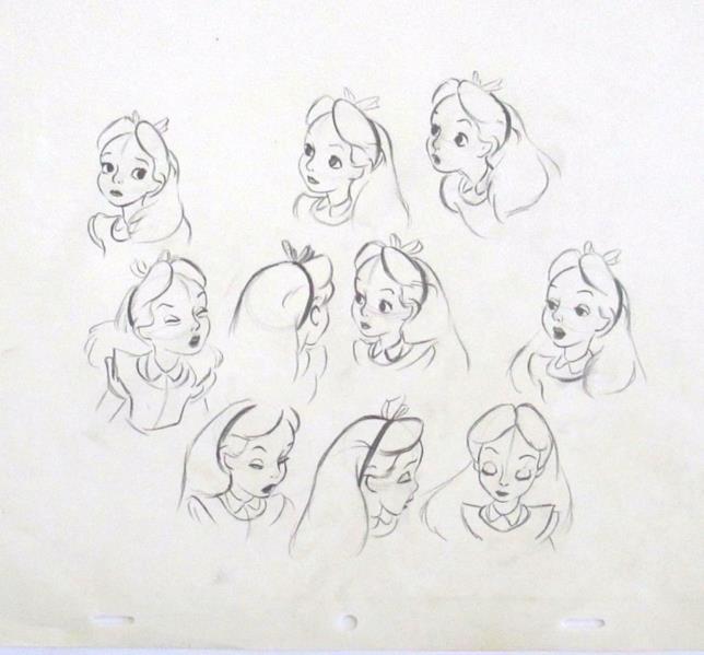 Alcuni schizzi di Alice, cartone animato della Disney