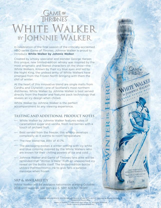 Nota informativa sul whisky di GoT di Johnnie Walker