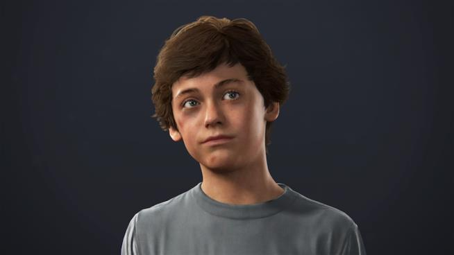 Un primo piano del giovane Nathan Drake da Uncharted 4