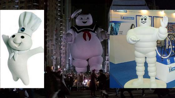 Lo Stay Puft a confronto con l'omino Michelin e Pillsbury Doughboy