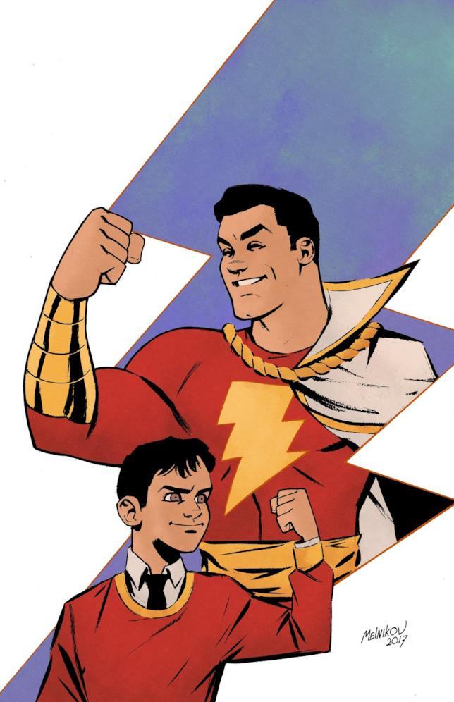 Immagine disegnata di Billy Batson  con Shazam alle spalle, dentro a un fulmine stilizzato