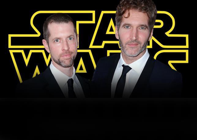Benioff e Weiss davanti al logo di Star Wars
