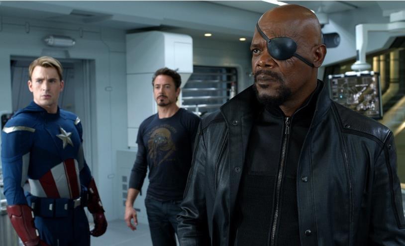 Il direttore dello S.H.I.E.L.D. insieme a Captain America e Iron Man