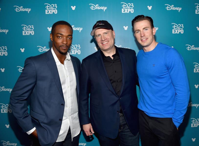 Anthony Mackie, Kevin Feige e Chris Evans al D23 Expo