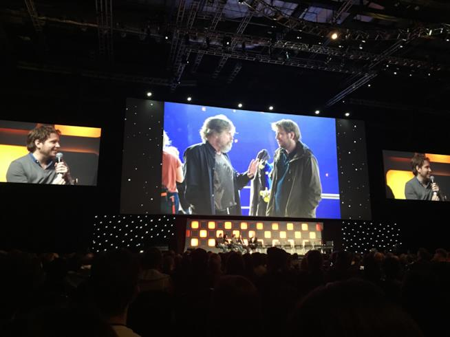 Mark Hamill e Gareth Edwards sul set di Rouge One: A Star Wars Story