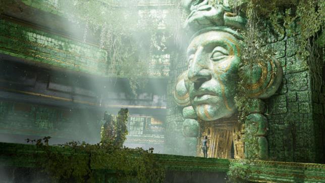 Lara nel tempio Maya in una scena del gioco