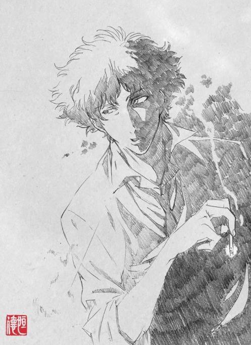 Spike Spiegel fuma una sigaretta in uno schizzo di Tsunenori Saito