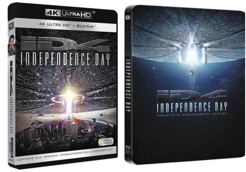 Le confezioni della versione 4k e steelbook di Independence day