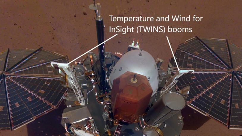 I sistemi di InSight addetti al rilevamento di temperatura e correnti d'aria