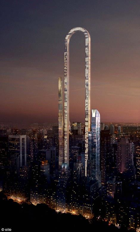 Un rendering che mostra il grattacielo The Big Bend illuminato durante le ore notturne