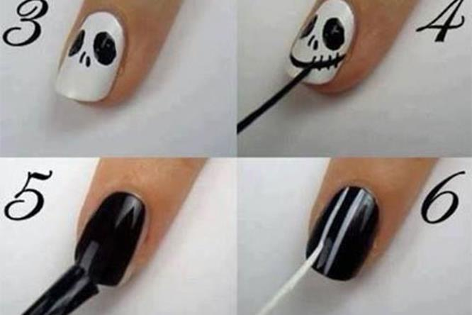 Il facile tutorial per una manicure ispirata a Nightmare Before Christmas