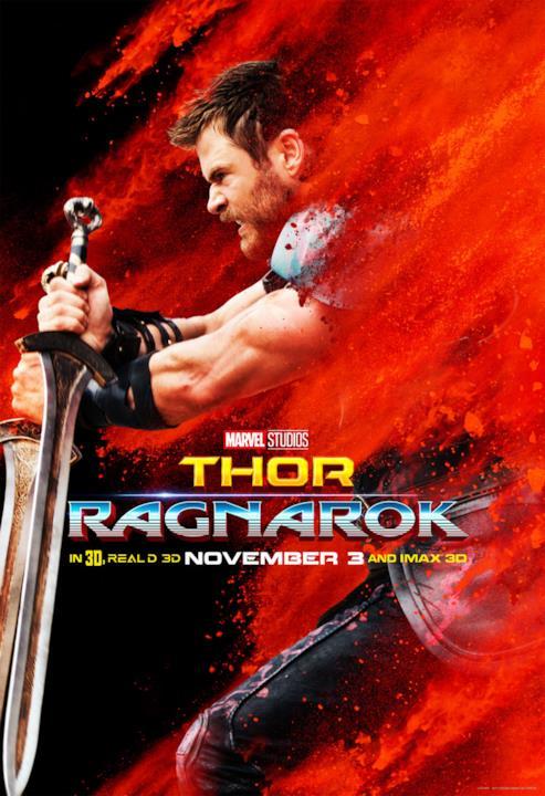 Chris Hemsworth è Thor nel poster con sfondo rosso e spada alla mano