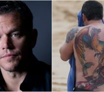 Collage tra Matt Damon e tatuaggio di Ben Affleck