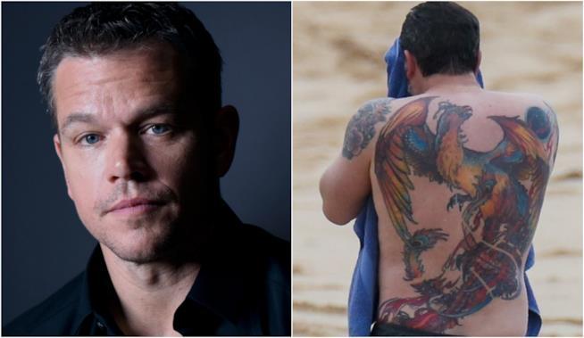 Collage tra Matt Damon e tatuaggio di Ben Affleck